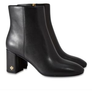 Tory Burch Brooke 70mm Leather Booties Black size 6
